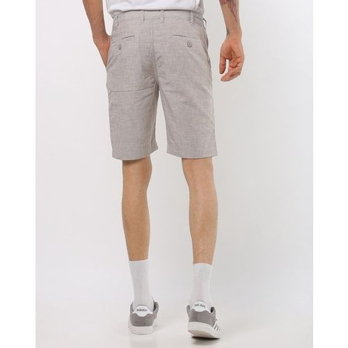 DNMX Slim Fit Cotton Shorts with Insert Pockets