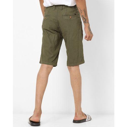 ALCOTT Mid-Rise Flat-Front Shorts
