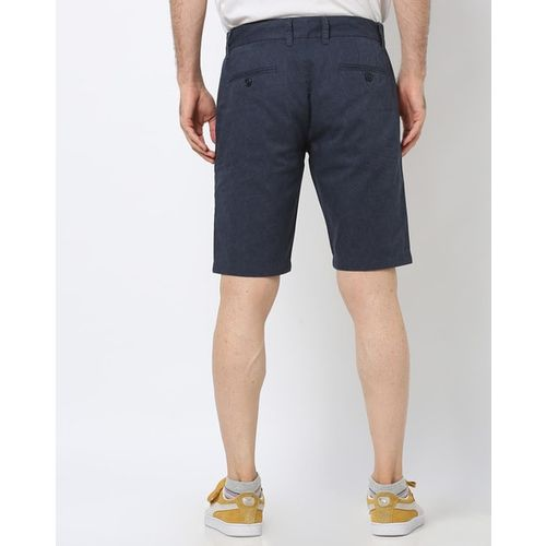 DNMX Printed Slim Fit Flat-Front Shorts