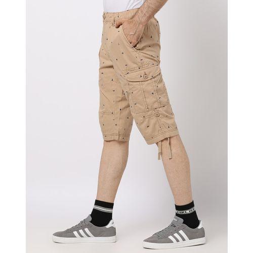 DNMX Printed Slim Fit Cargo Shorts