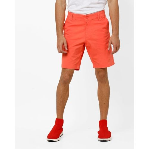 FLYING MACHINE Mid-Rise Flat-Front Cotton Shorts
