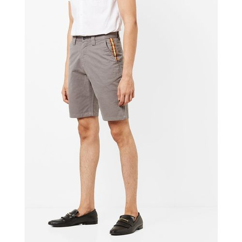 AJIO Mid-Rise Slim Fit Shorts with Insert Pockets