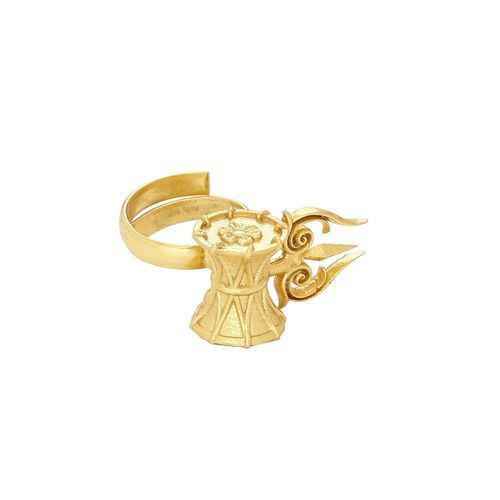 Nitaara gold brass finger ring