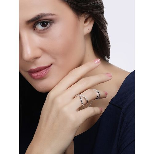 Faryal silver metal finger ring