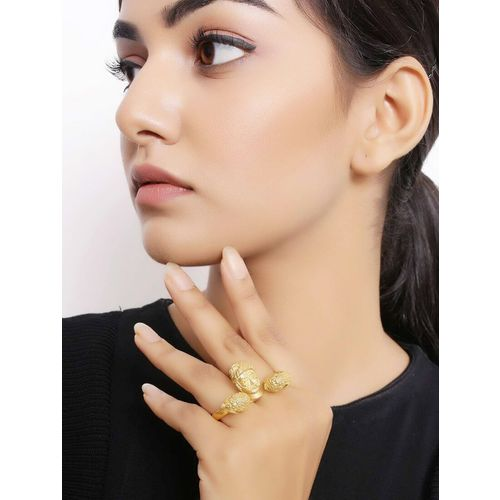 Nitaara gold brass finger ring