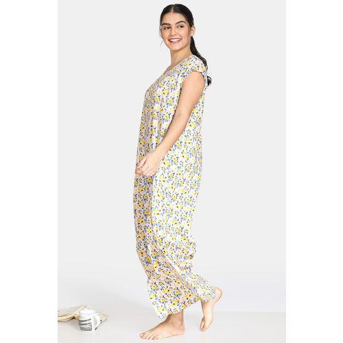 Zivame Bohemian Magic Rayon Full Length Nightdress - Lime Yellow