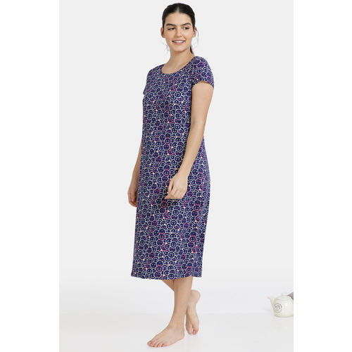 Zivame Must Haves Butter-Soft Poly Knit Mid Length Nightdress - Navy