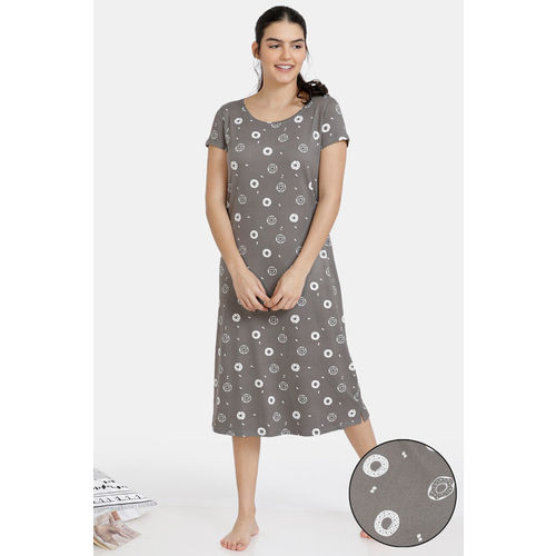 Zivame Must Haves Butter-Soft Poly Knit Mid Length Nightdress - Grey