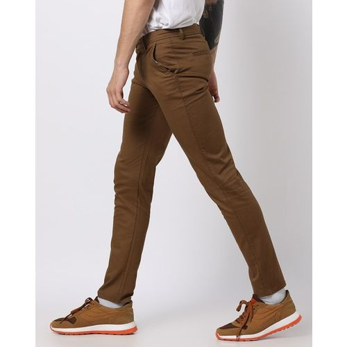 AMON Slim Fit Flat-Front Trousers