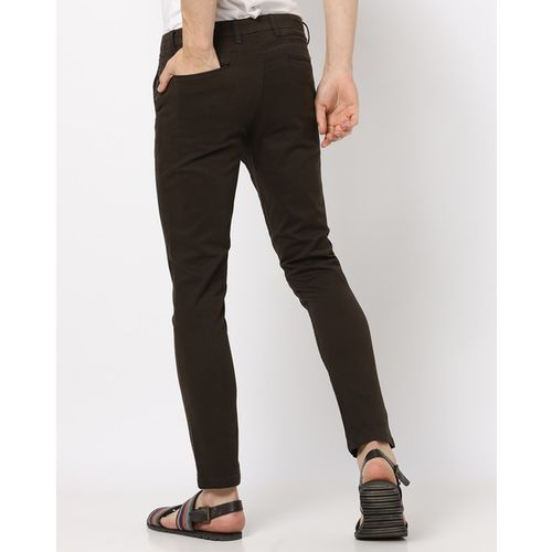 AJIO Slim Tapered Flat-Front Trousers