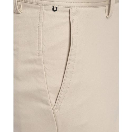ALLEN SOLLY Textured Flat-Front Trousers with Insert Pockets