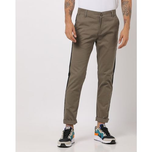 Hubberholme Slim Fit Flat-Front Trousers with Contrast Taping