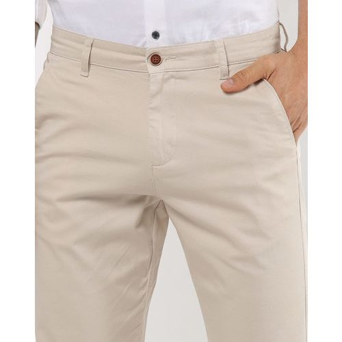 AJIO Flat-Front Tapered Chinos with Insert Pockets