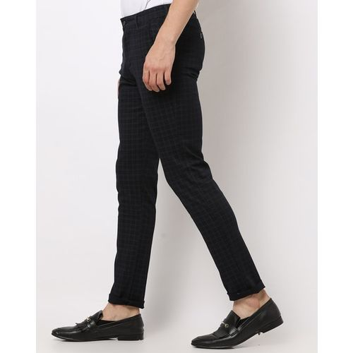 AJIO Checked Slim Tapered Flat-Front Trousers