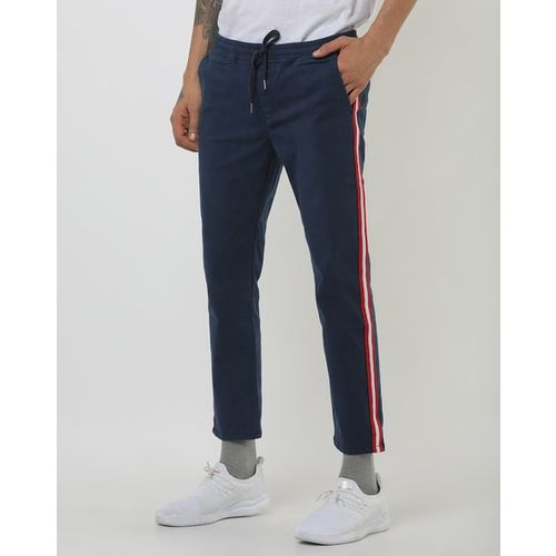 Blue Saint Slim Fit Trousers with Contrast Side Taping