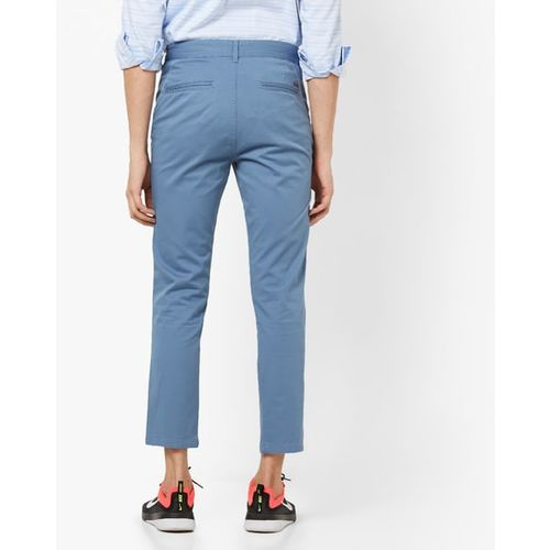 AJIO Mid-Rise Slim Tapered Chinos with Insert Pockets