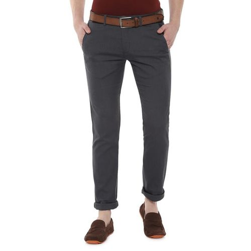 ALLEN SOLLY Textured Mid-Rise Flat-Front Trousers