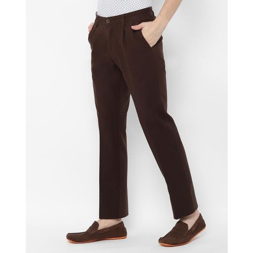 ALLEN SOLLY Pleat-Front Slim Fit Trousers with Insert Pockets