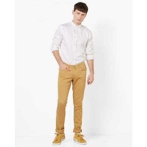JOHN PLAYERS Mid-Rise Flat Front Trousers