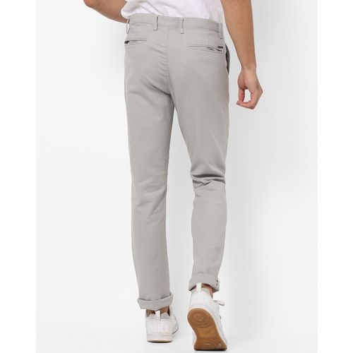 AJIO Mid-Rise Tapered Fit Trousers with Insert Pockets