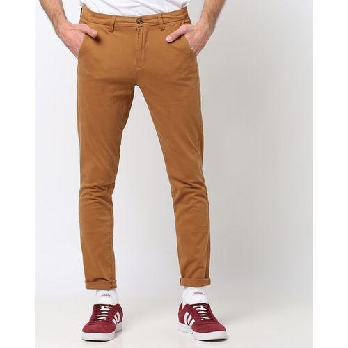 AJIO Slim Fit Flat-Front Chinos