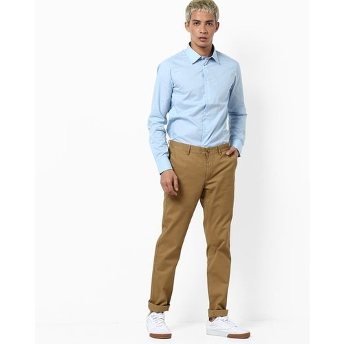 BASICS Mid-Rise Tapered Fit Trousers with Insert Pockets