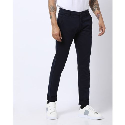 AJIO Flat-Front Tapered Trousers