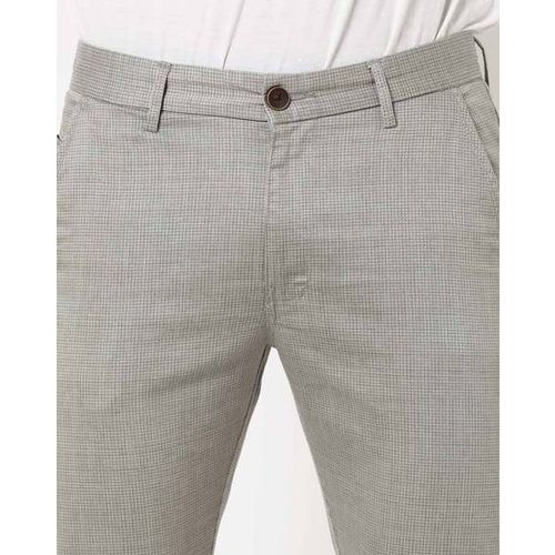 AMON Checked Slim Fit Chinos with Insert Pockets