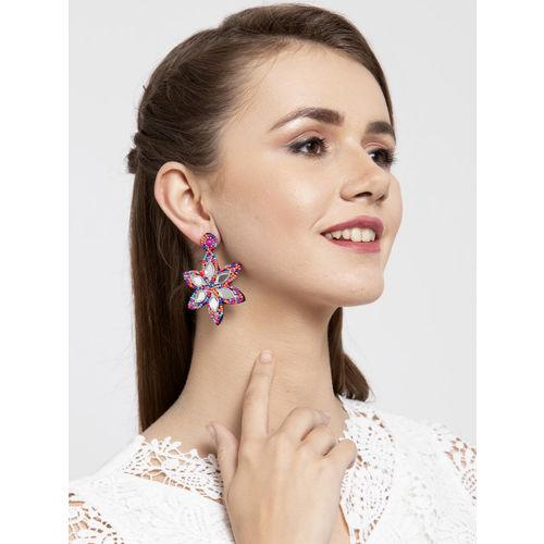 Moedbuille Pink & Blue Floral Afghan Drop Earrings
