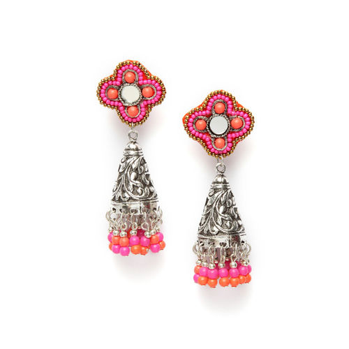 Moedbuille Silver & Pink Handcrafted Dome Shaped Jhumkas