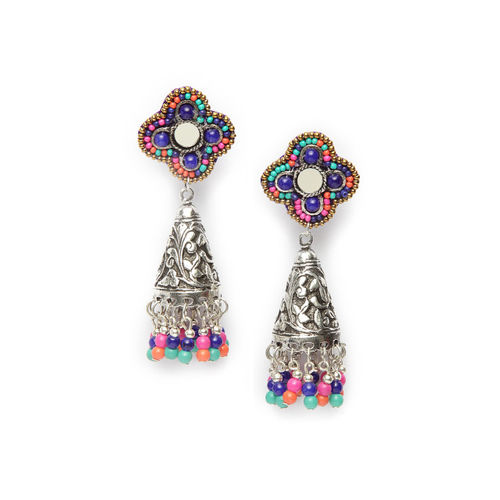 Moedbuille Multicoloured & Silver-Toned Dome Shaped Jhumkas