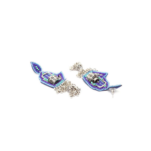 Moedbuille German Silver& Blue Beaded Handcrafted Quirky Drop Earrings