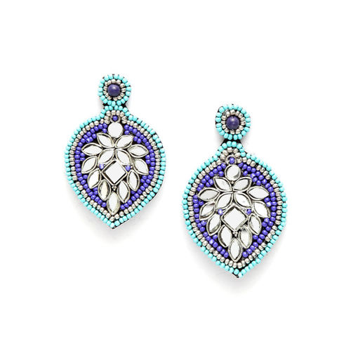 Moedbuille Blue Brass-Plated Handcrafted Mirror Afghan Antique Oxidised Drop Earrings