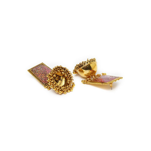 Moedbuille Gold & Pink Handcrafted Dome Shaped Jhumkas