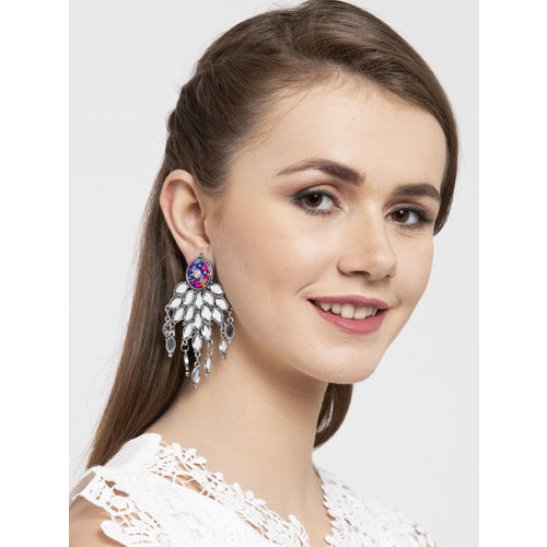 Moedbuille Silver-Toned & Pink Brass-Plated Handcrafted Mirror Studded Drop Earrings
