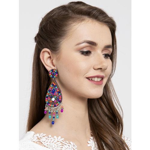 Moedbuille Multicoloured Teardrop Shaped Afghan Handcrafted Drop Earrings