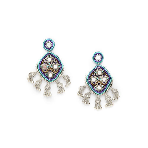 Moedbuille Silver & Turquoise Blue Handcrafted Diamond Shaped Drop Earrings