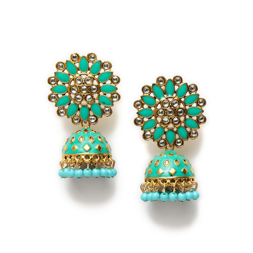 Moedbuille Sea Green & Gold-Toned Handcrafted Dome Shaped Jhumkas