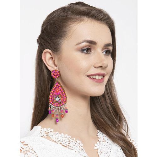 Moedbuille Pink & Orange Handcrafted Mirror Work Teardrop Shaped Drop Earrings