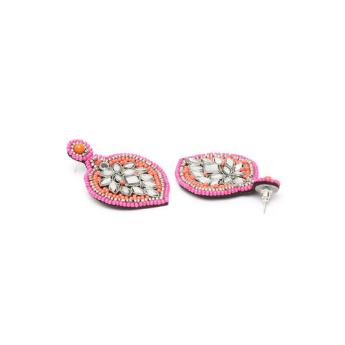 Moedbuille Pink & Silver-Plated Handcrafted Mirror Studded Leaf Shaped Drop Earrings