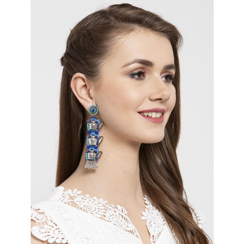 Moedbuille Blue & Silver-Toned Brass-Plated Quirky Drop Earrings