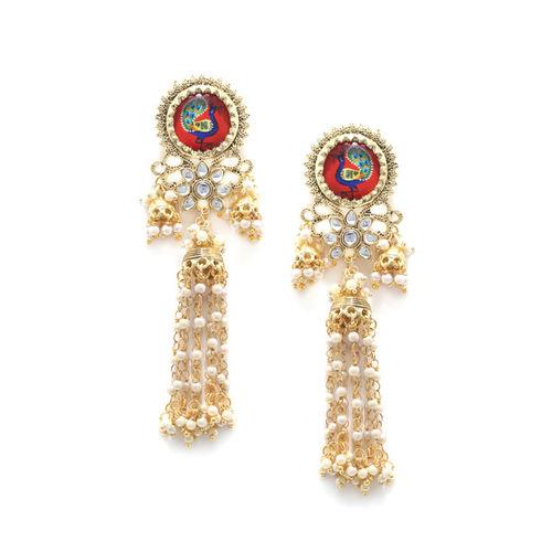 Fabstreet Gold-Plated Peacock Shaped Drop Earrings