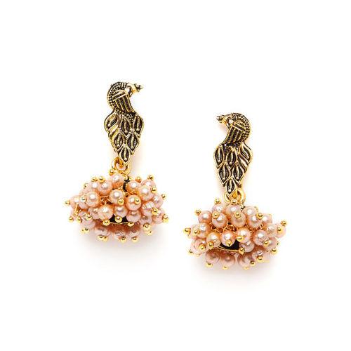 ZeroKaata Gold-Toned & White Handcrafted Peacock Shaped Drop Earrings