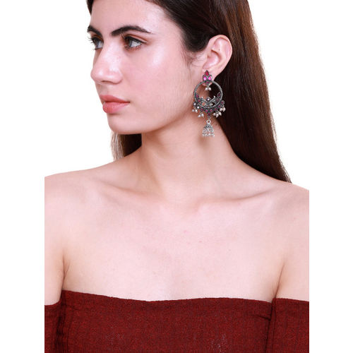 Fabstreet Pink & Silver-PLated Classic Drop Earrings