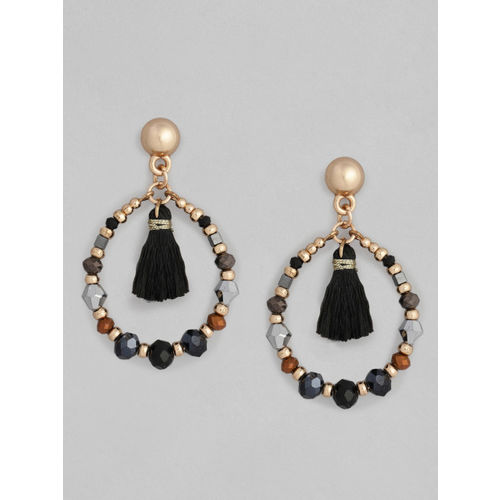 Accessorize Gold-Toned & Black Contemporary Drop Earrings