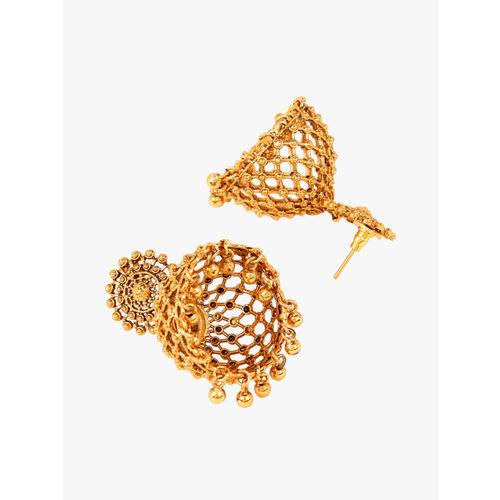 Adwitiya Collection Gold-Plated Dome Shaped Jhumkas