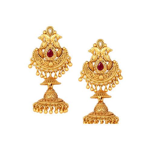 Adwitiya Collection Gold-Plated Classic Jhumkas