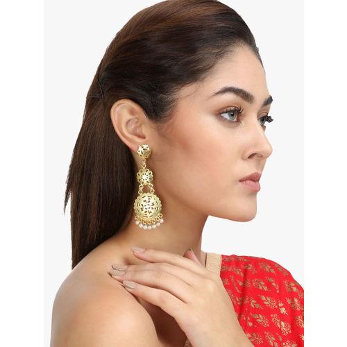 Adwitiya Collection Gold-Plated Oxidised Geometric Drop Earrings