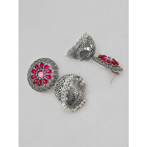 Rubans Silver-Plated Pink Handcrafted Dome Shaped Jhumkas