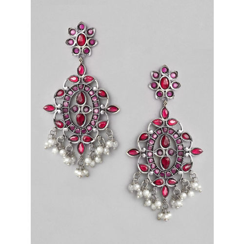 Rubans Silver-Plated & Pink Oxidised Handcrafted Classic Drop Earrings
